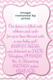 Pink Chevron Baby Girl Announcement Invitation Easter Flyer