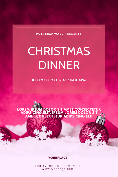 Pink Christmas event dinner flyer template