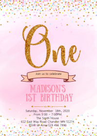 Pink Confetti first birthday invitation A6 template