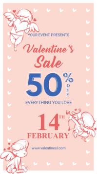 Pink Cupid Valentine's Sale Digital Display Ad История на Instagram template