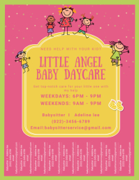 Pink Daycare Service Flyer with Tear-off Tabs Volante (Carta US) template