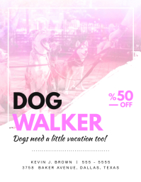 Pink Dog Walker Flyer Design