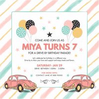Pink Drive-by Birthday Invitation Instagram P Квадрат (1 : 1) template