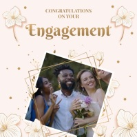 Pink engagement wish congratulations Instagram Post template