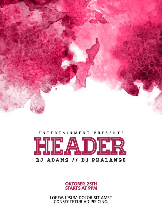 Pink Event Watercolor flyer template