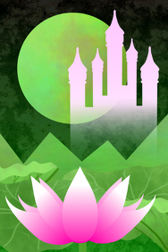 pink fairytale castle & lotus flower Green Mountains and moon