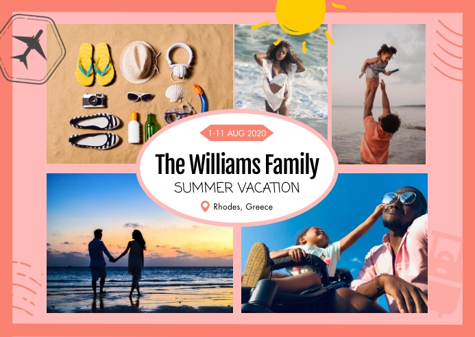 Pink Family Collage Post card Poskaart template