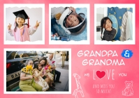 Pink Family Collage Postcard template
