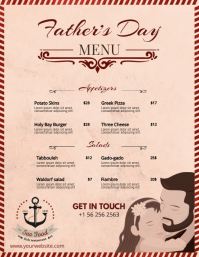 Pink Father's Day Custom Menu Design