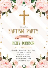 Pink floral baptism party invitation