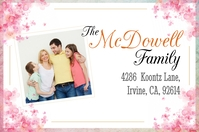 Pink Floral Family Post Card Shipping Label T Étiquette template