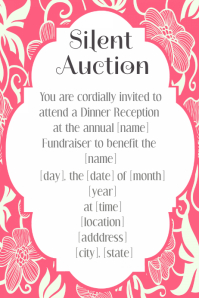 Pink Floral Invitation Silent Auction Template Hawaiian luau