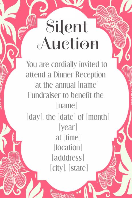 pink floral invitation silent auction template hawaiian luau