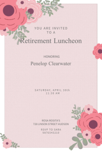 Pink Floral Retirement Poster Template