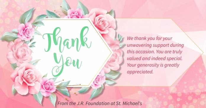 Pink Floral Thank You Card delt Facebook-billede template