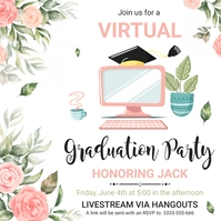 Pink floral virtual grad party invitation Publicação no Instagram template