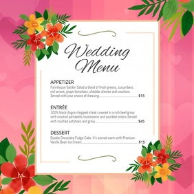 Pink Floral Wedding Menu Square Video