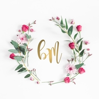 Pink Floral Wreath Company Logo template