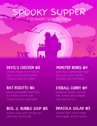 Pink Flyer Halloween Menu