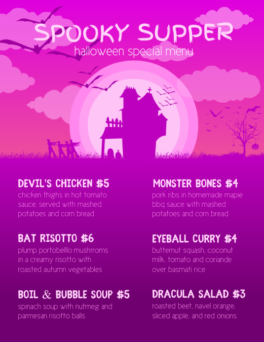 pink flyer halloween menu template postermywall