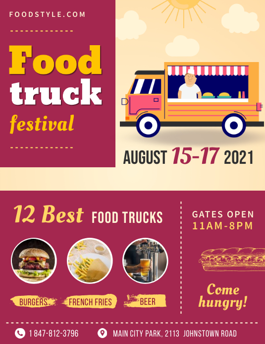Pink Food Truck Restaurant Flyer Template