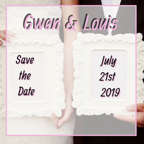 Pink Frame Save the Date Card Instagram