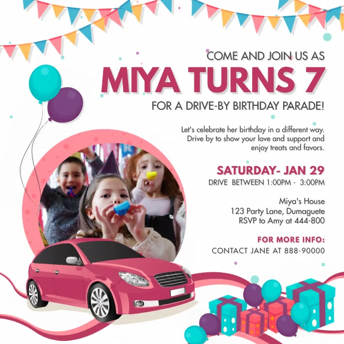 Pink Fun Drive-by Birthday Invite Instagram V Square (1:1) template