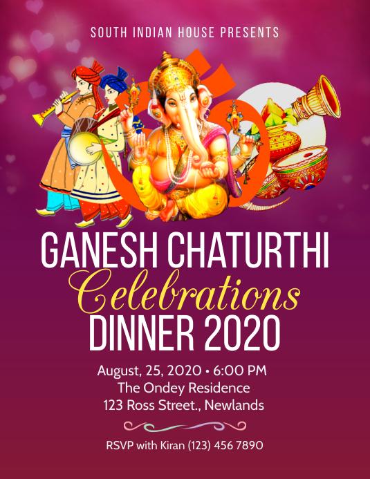 Pink Ganesh chaturthi dinner flyer Рекламная листовка (US Letter) template