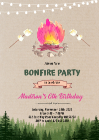 Pink glamping camp bonfire invitation