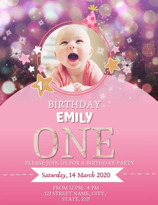 PINK GLITTER PRINCESS BIRTHDAY DESIGN Flyer (US Letter) template