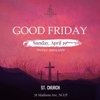 Pink Good Friday Church Instagram Post Templa template
