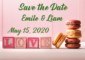 Pink Green Save the Date