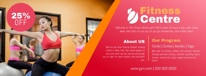 Pink Gym Fitness Centre Ad Facebook Cover Photo
