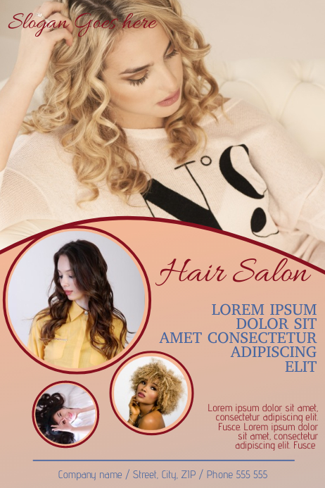 pink hair salon flyer template postermywall