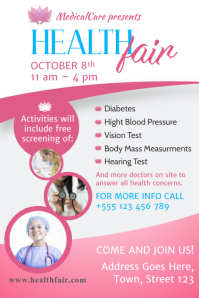 Pink Health Fair Poster Template