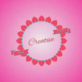 pink heart hearts logo design template