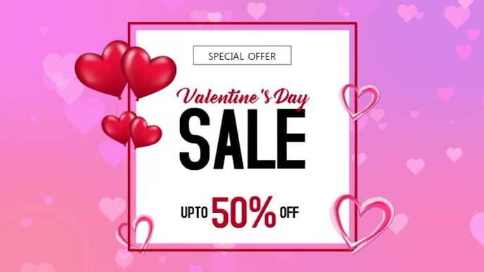 Pink Hearts Valentines Day Sale Digital Display Template