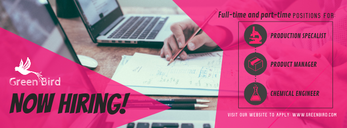 Pink Hiring Now Facebook Cover Photo template
