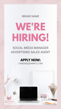 Pink Hiring Now Instagram Story Advertisement template