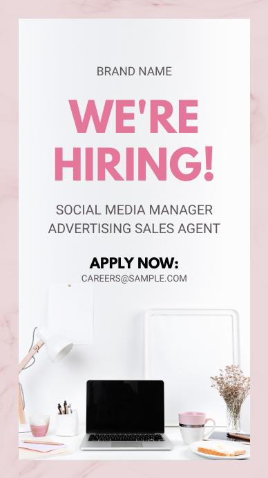 Pink Hiring Now Instagram Story Advertisement template