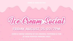 Pink Ice Cream Social Banner