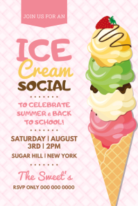 Pink Ice Cream Social Poster template
