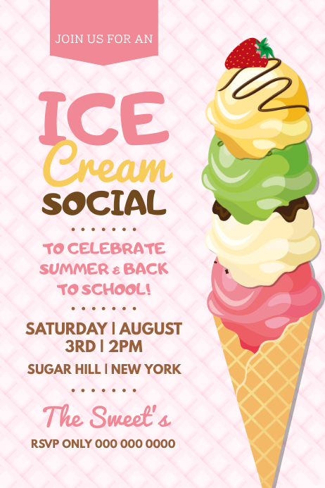 Pink Ice Cream Social Poster