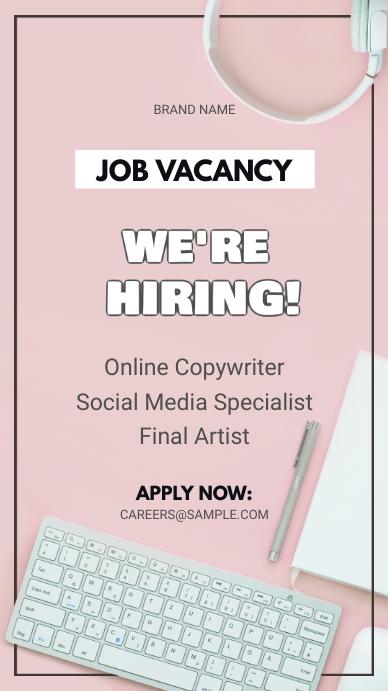 Pink Job Vacancy Instagram Story Ad template