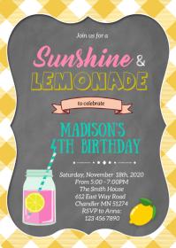 Pink lemonade birthday party invitation A6 template