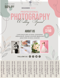 Pink Modern Photography Studio Advertisement Pamflet (VSA Brief) template