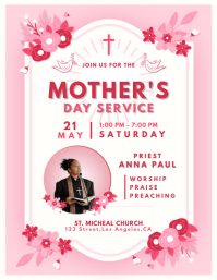 Pink Mother's Day Church Service Flyer template