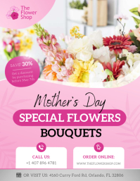 Pink Mother's Day Flower Retail Flyer Volantino (US Letter) template