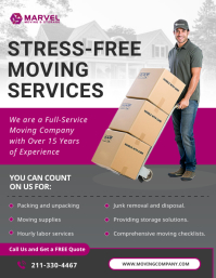 Pink Movers Services Flyer 传单(美国信函) template