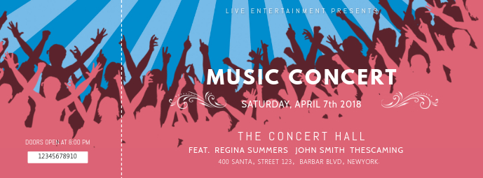 Pink Music Concert Ticket Template